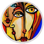 New Picasso By Nora Friends Round Beach Towel by Nora Shepley
