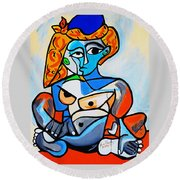 New  Picasso By Nora  Nude Woman With Turkish Bonnet Round Beach Towel