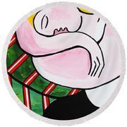 New Picasso By Nora Out Cold Round Beach Towel