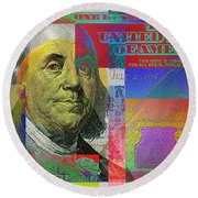 New Pop-colorized One Hundred Us Dollar Bill Round Beach Towel