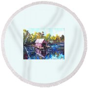 Round Beach Towel featuring the painting New River Boathouse by Jim Phillips