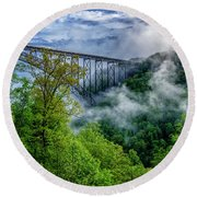 New River Gorge Bridge Morning  Round Beach Towel