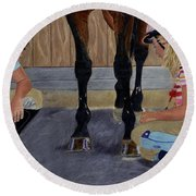 New Shoe Review Horse And Children Painting Round Beach Towel