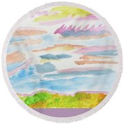 Strawberry Skies Watching Round Beach Towel by Meryl Goudey