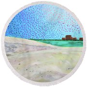New Smyrna Beach As Seen From A Dune On Ponce Inlet Round Beach Towel