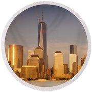 New World Trade Memorial Center And New York City Skyline Panorama Round Beach Towel