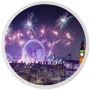 New Year Fireworks London Round Beach Towel