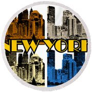 New York 4 Color Round Beach Towel