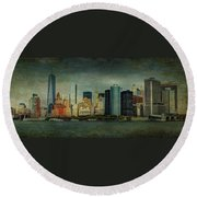 Round Beach Towel featuring the mixed media New York After Storm by Dan Haraga