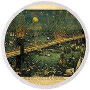 Round Beach Towel featuring the photograph New York And Brooklyn Bridge Opening Night Fireworks by John Stephens