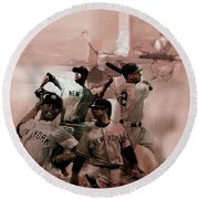 New York Baseball  Round Beach Towel by Gull G