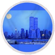 New York Blues Round Beach Towel