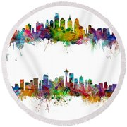 New York, Philadelphia, Seattle And San Francisco Skylines Round Beach Towel