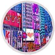 New York By Nico Bielow Round Beach Towel