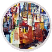 New York Cab Round Beach Towel