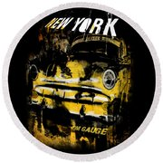 New York Cab Round Beach Towel by Kim Gauge