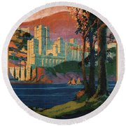 New York Central Lines - West Point - Retro Travel Poster - Vintage Poster Round Beach Towel