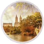 New York City Autumn Landscape Round Beach Towel
