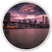 New York City Brooklyn Bridge Sunset Round Beach Towel