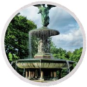 New York City Central Park Bethesda Fountain Round Beach Towel