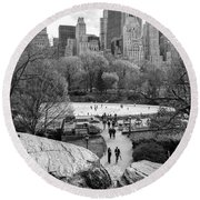 New York City Central Park Ice Skating Round Beach Towel