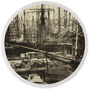 New York City Docks - 1800s Round Beach Towel