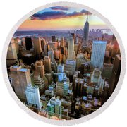 New York City Downtown Manhattan Round Beach Towel