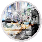 Round Beach Towel featuring the photograph New York City Geometric Mix No. 9 by Melanie Viola