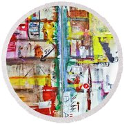 New York City Icons And Symbols Round Beach Towel