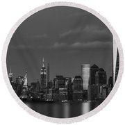 Round Beach Towel featuring the photograph New York City Icons Bw by Susan Candelario