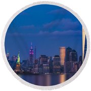 Round Beach Towel featuring the photograph New York City Icons by Susan Candelario