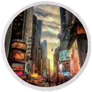 Round Beach Towel featuring the photograph New York City Lights by Lois Bryan