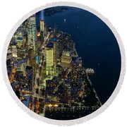Round Beach Towel featuring the photograph New York City Remembers 911 by Susan Candelario