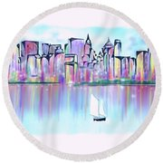 Round Beach Towel featuring the digital art New York City Scape by Darren Cannell