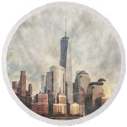 New York City Skyline Including The World Trade Centre Round Beach Towel
