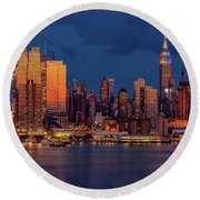 Round Beach Towel featuring the photograph New York City Skyline Pride by Susan Candelario