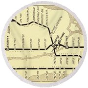 New York City Subway Map Vintage Round Beach Towel