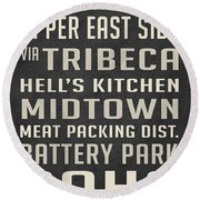 New York City Subway Stops Vintage Round Beach Towel
