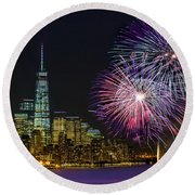 New York City Summer Fireworks Round Beach Towel