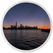 New York City Sunrise Round Beach Towel