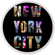 New York City Text On Black Round Beach Towel