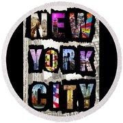 New York City Text Round Beach Towel