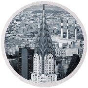 New York City - Usa - Chrysler Building Round Beach Towel