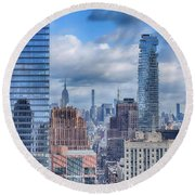New York Cityscape Round Beach Towel