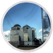 New York Financial District Round Beach Towel