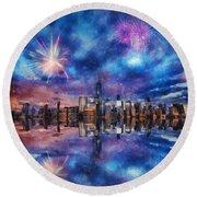 New York Fireworks Round Beach Towel