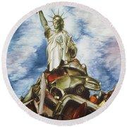 New York Liberty 77 - Fantasy Art Painting Round Beach Towel