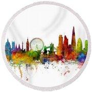 New York, London And Hong Kong Skyline Mashup Round Beach Towel