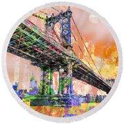 New York City Manhattan Bridge Gold Round Beach Towel