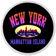 New York Manhattan Island Design Round Beach Towel